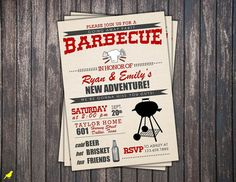 BBQ invite going away party field day by TheLilYellowCanary, $13.00