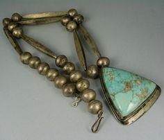 Navajo MARK CHEE (d.) Turquoise Pendant Slvr Bead Necklace