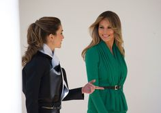 The First Lady opted for solid color, while the monarch focused on tailoring.