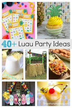 Selection of luau party ideas that can be enjoyed by the whole family. Find simple ideas for food, drinks and decorations to suit a small budget. Kids will love the bright colors and fun party accessories. Fun Party Games, Kids Party Themes, Party Ideas, Easy Party Food, Party Food And Drinks, Kids Luau Food, Silly Holidays, Luau Party Decorations, Tropical Party
