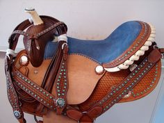 "16""Leather Rought Out Barrel Western Show Trail Saddle Blue Bling Set 