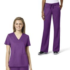 Update your everyday scrub set with the grace Exclusively at allheart Women's Mock Wrap Solid Scrub Top & Flare Leg Scrub Pant Set. A soft and stretchy fabric blend ensures comfort and easy movement throughout your busy day.| #scrubs #purplescrubs #scrubstyle