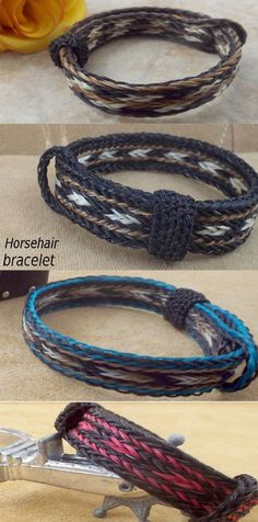 Wide-sturdy Horsehair bracelet Be admired Sorrel-white-black horsehair bracelet