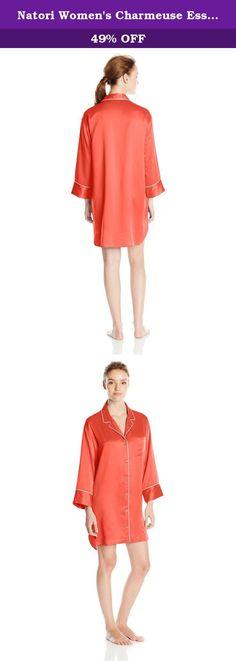 Natori Women's Charmeuse Essentials Sleepshirt, Coral, Large. Solid car me use sleep shirt.
