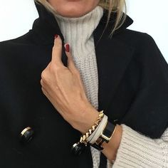 Love the sweater, coat and jewelry combination