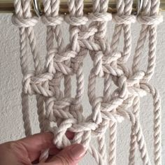How to Tie a Square Knot Diamond // This video shows you how to tie a Square Knot Diamond, which has some negative space at the center. It is decorative and used in Macrame wall hangings and Jewelry. It looks great inside a Clove Hitch Diamond and it's easy to do with any number of cords. // This video shows 6 1/4th inch cords at 8 feet each. Since folded in half and attached to the bar using the Larks Head Knot there are now 12 cords; 1-12 from left to right.  Remember, you re-number the…