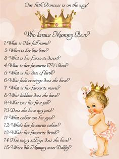 who knows mum best, princess,Girl,Baby Shower Ideas,Printable,Baby Shower Games,Mummy,Mommy,princess baby shower,little princess,Baby Shower by SunshineBabyShowers on Etsy