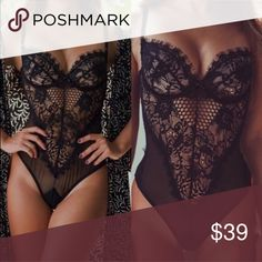 Delicate Black Eyelashes Lingerie Bodysuit Small fits size 2-4 Medium fits 4-6 Large fits size 6-8   No underwire, no snap. Perfect for cups B and C.   Identical to Gooseberry bodysuit without the ridiculous $$$$ Intimates & Sleepwear