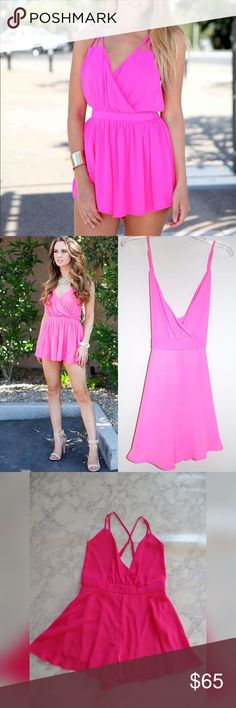 ⏰FLASH SALE ⏰Hot pink Romper NWOT BDAYSALE NWOT This romper will be go your go-to for both carefree weekends and long nights out. Fully lined, adjustable straps   ✅ will bundle ✅ ✅ all reasonable offers will be considered  No Trading  Poshmark rules only‼️ Measurements taken laying flat                            Ⓜwaist 15 Ⓜ️ shorts length 15 Boutique  Shorts