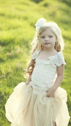 ❀ Fanciful Flower Girls ❀ dresses & hair accessories for the littlest wedding attendant :-)  vintage pale yellow
