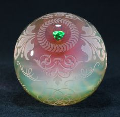 """Josh Eugene Juba Glass - Intaglio Chameleon - Sandblasted with Gold and silver fume and encased trillian shaped green opals. 2.0"""""""