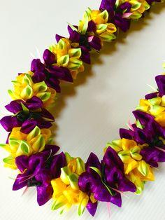 Plumeria with Purple flower (Ribbon Lei) designed by Tracy Harada Ui'mauamau