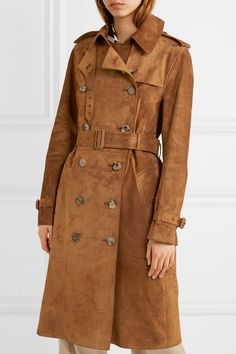 Burberry - The Haddington double-breasted suede trench coat Suede Trench Coat, Minimalist Fashion, Minimalist Style, Classic Collection, Double Breasted, Burberry, Autumn, Fall, Capes