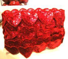 "1 yard sequin heart trim $5 {19-20, 2"" hearts}"