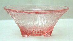 Depression Glass Nut Bowl - Pink Royal Lace