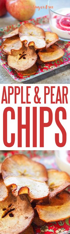 Gorgeous wafer thin apple and pear crisps with a raspberry and yoghurt dip. An ideal snack to if you are trying to kick the sugar habit. Pear Crisp, Wafer Thin, Greek Yoghurt, Apple Pear, Sugar Detox, Savory Snacks, Sugar Free, Dip, Raspberry