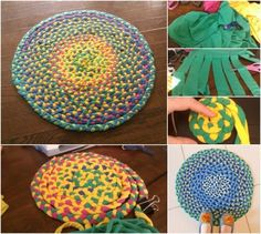 Creative Use for Old T-Shirts: Braid them into a Beautifully Bright Rug