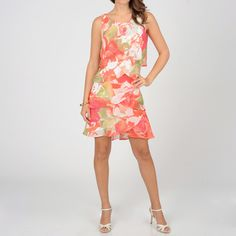 @Overstock - Brightly patterned with floral print and asymmetrically tiered, this SL Fashions swing dress presents a sweet look with a bold approach. This feminine coral and green-hued chiffon dress is complete with a sleeveless, knee-length cut.http://www.overstock.com/Clothing-Shoes/SL-Fashions-Womens-Coral-Floral-Chiffon-Tiered-Dress/7716243/product.html?CID=214117 $50.99