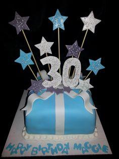Pretty Pink and Blue 40th Birthday Cake Blue birthday cakes 40