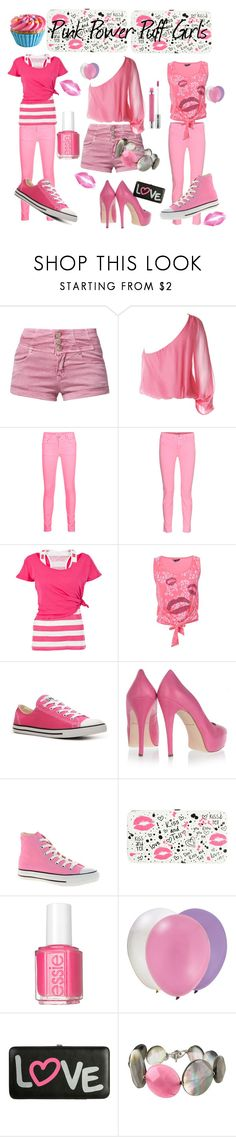 """Pink Power Puff Girls"" by puja-ranger ❤ liked on Polyvore featuring Glamorous, Alice + Olivia, Aaiko, J Brand, White Label, Converse, Brian Atwood, Dylan's Candy Bar, Wet Seal and Essie"