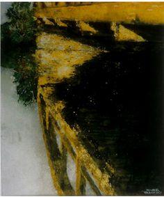 """bridge eramosa river 22"""" x 12"""" micheal zarowsky watercolour on arches paper - private collection"""