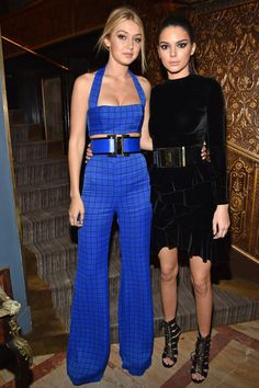 Best friends on and off the runway, Gigi Hadid and Kendall Jenner, coordinated their looks for a night out, accentuating their model frames with oversized belts.