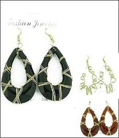 Sexy Brown Hoops Gold Wire Detail Glam Pierced Earrings Holiday Costume Jewelry #fashionjewelry #Hoop