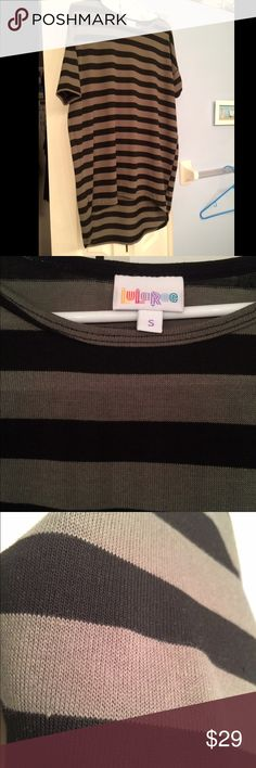 LulaRoe Irma tunic, Sz S, olive and black stripe LulaRoe's tunic style shirt, Irma, in the knit sweater-ish material. Olive and Green stripe pattern. Very cute, but just a tad small for me. Bought pre-owned, but in good condition and I've never worn since I received. Small, but probably fits more like a M or L LuLaRoe Tops Tunics