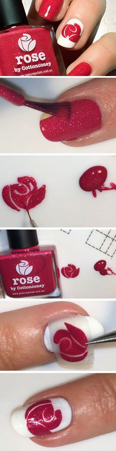 Rose | DIY Valentines Day Nail Art Ideas for Teens
