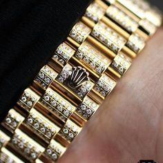 Gold Chain For Men Best Diamond Bracelets : Stunning Iced Presidential Strap PC: Mens Gold Bracelets, Diamond Bracelets, Gold Bangles, Rolex Bracelet, Bracelet Watch, Modern Jewelry, Gold Jewelry, Jewellery, Rolex Day Date