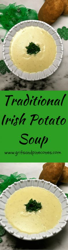 Traditional Irish Potato Soup is as simple to make as it is delicious and nutritious and it's perfect for a St Patrick's Day meal!  via @http://www.pinterest.com/gritspinecones/