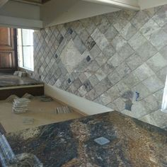 Stone tile back splash Tile Installation, Carpet Tiles, Stone Tiles, Backsplash, Tile Floor, Hardwood, Floors Of Stone, Natural Wood, Carpet Squares