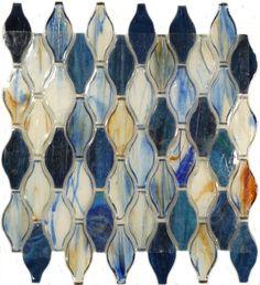 Botanical Glass  Backsplash, Unique Shapes, Sapphire, Glossy, Blue, Glass