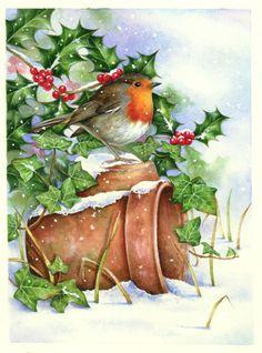Just like an old Christmas card Christmas Bird, Christmas Scenes, Christmas Past, Christmas Animals, Vintage Christmas Cards, Christmas Pictures, Xmas Cards, Winter Christmas, Christmas Crafts