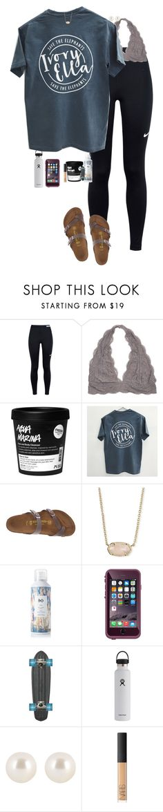 """""""How many drafts do u have?"""" by halledaniella ❤ liked on Polyvore featuring NIKE, Birkenstock, Kendra Scott, R+Co, Hydro Flask, Henri Bendel and NARS Cosmetics"""