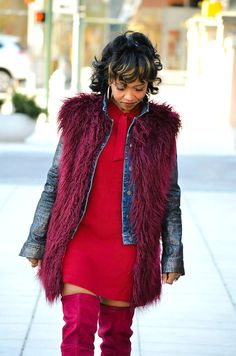 Sweenee Style, Fall Outfit Idea, Oxblood, OTK boots, Fur Vest