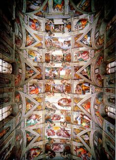 Ceiling of the Sistine Chapel, Michelangelo, 1508-1512. This ceiling is full of religious meanings, many of which are shown many times, just shown in different views or different depictions. I like this because it extremely detailed with countless hours upon hours of work done by Michelangelo that would forever last in history and tourism today.