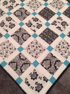 Image result for modern baby quilt black and white teal