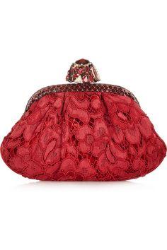 Dolce & Gabbana Dea Smayy Ayers-Trimmed Lace and Velvet Clutch