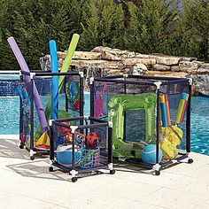 Pool Toy Storage Bins (I bet this would be easy to make. Pool Toy Storage Bins (I bet this would be easy to make…pvc pipe, casters, netting material) Insp Pool Toy Storage, Outdoor Toy Storage, Toy Storage Bins, Outdoor Toys, Storage Ideas, Pool Float Storage, Garage Storage, Outdoor Play, Toy Bins