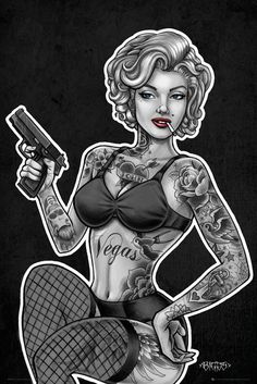 Marilyn Monroe inked and armed - Tattoo Art by James Danger Harvey