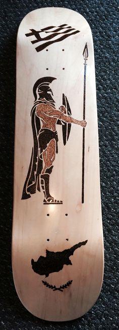 Skateboard deck hand burned