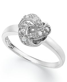 Diamond Love Knot Ring in Sterling Silver (1/10 ct. t.w.) | macys.com