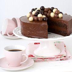 Chocolate Mousse Cake - Ingredients Cake:100g cocoa,100g dark chocolate, broken into squares,200g butter at room temperature,325g light brown sugar,3 eggs, beaten,275g self-raising flour,2.5ml baking powder. CHOCOLATE MOUSSE FILLING:450g dark chocolate,broken into squares,500ml cream,6 egg yolks,80ml castor sugar.Read more... http://homemag.co.za/food/chocolate-mousse-cake/