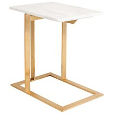 Nuevo Dell White Marble and Gold Stainless Steel Side Table NVHGTB275