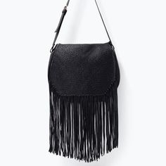LEATHER MESSENGER BAG WITH FRINGES