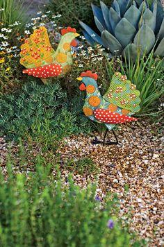 Funky Chickens, Set of 4 Calico Chicken Stakes, Set of 2 Garden Crafts, Garden Projects, Garden Art, Art Crafts, Chicken Coop Decor, Chicken Garden, Metal Yard Art, Metal Tree Wall Art, Metal Art