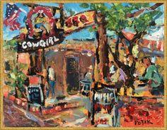 Original Southwest Impressionist Painting, Cowgirl Cafe', Santa Fe, New Mexico / Russ Potak by PotakPaintsArt on Etsy
