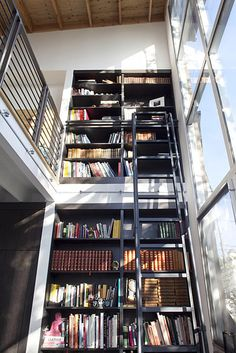 Energy-efficient windows and a double story wall that allows for daylight create a sunny, vibrant space. The Bernal Heights home was featured on the AIA San Francisco Home Tours last Fall. Library Bookshelves, Library Ladder, Bookcases, Library Wall, Dream Library, Unique Bookshelves, Bookshelf Wall, Future Library, Modern Bookcase