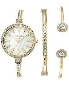 Anne Klein Women's Crystal Accent Gold-Tone Bangle Bracelet Watch and Bracelets Set 32mm AK-2516GBST